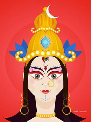 Goddess Maa Durga Print by Sachin Sachdeva