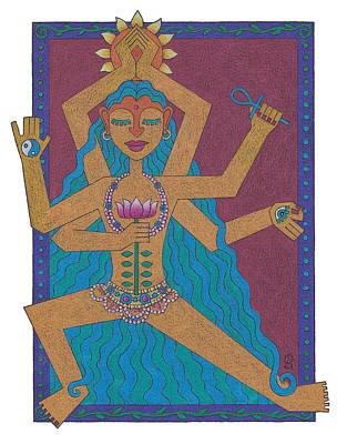 Hindu Goddess Drawing - Goddess Of Well-being by Sharon Woodward