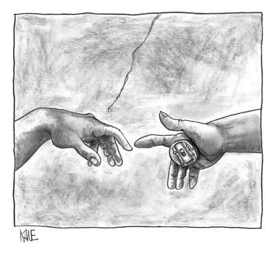 God's Hand Touching Adam's Hand A La Sistine Print by John Kane