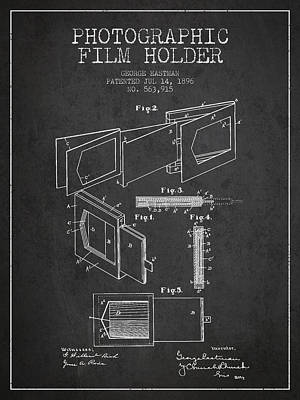 Film Camera Digital Art - George Eastman Film Holder Patent From 1896 - Dark by Aged Pixel
