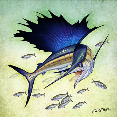 Goggle Eye Sailfish Print by Dennis Friel