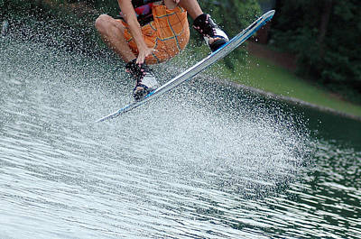 Wakeboarding Photograph - Going For A Grab by Kelly Wright