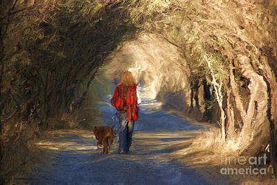 Going For A Walk Print by John  Kolenberg