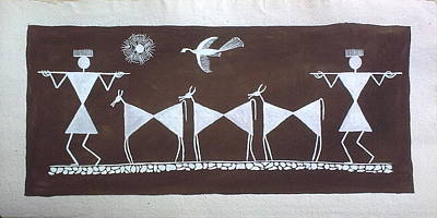 Warli Painting - Going In Farms -second In Series Of Three by Aboli Salunkhe