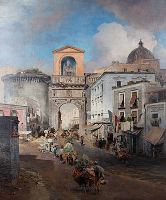 Oswald Achenbach Painting - Going To Market by Oswald Achenbach