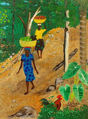 Jacmel Painting - Going To The Marketplace 3 by Nicole Jean-Louis