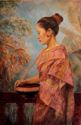 Laos Painting - Going To The Temple by Sompaseuth Chounlamany