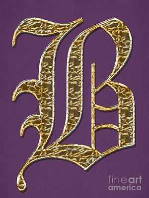 Brenda Brown Art Digital Art - Gold B On Purple by Barbara Griffin