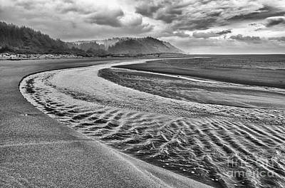 Tidal River Photograph - Gold Bluffs Beach Is Located In The Prairie Creek Redwoods State In Black And White. by Jamie Pham