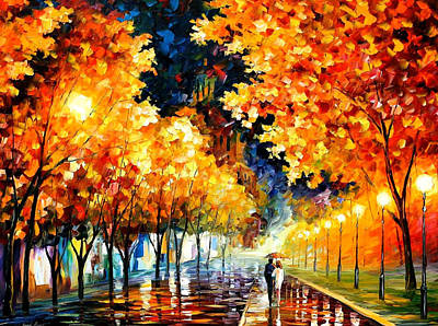 Gold Boulevard - Palette Knife Oil Painting On Canvas By Leonid Afremov Original by Leonid Afremov