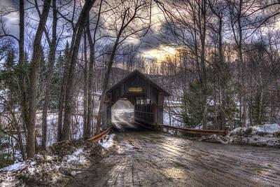 Winter Scene Photograph - Gold Brook Covered Bridge - Stowe Vermont by Joann Vitali