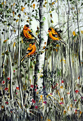 Landscape Painting - Gold Finches by Harsh Malik
