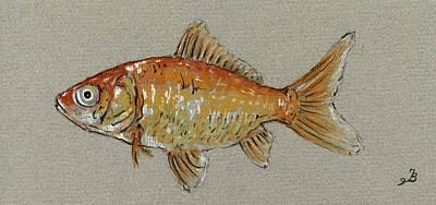 Gold Painting - Gold Fish by Juan  Bosco