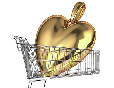 Locket Photograph - Gold Heart In A Shopping Trolley by Leonello Calvetti