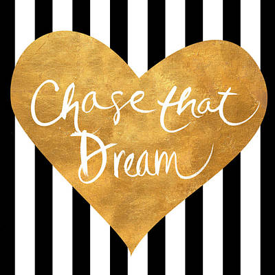 Gold Heart On Stripes II Print by South Social Graphics