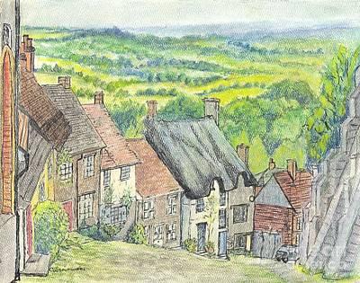 Gold Hill Shaftesbury Dorset England Print by Carol Wisniewski
