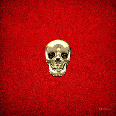 Upscale Digital Art - Gold Human Skull On Red Leather by Serge Averbukh