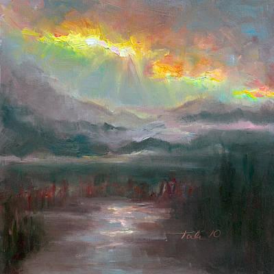 Fog Painting - Gold Lining - Chugach Mountain Range En Plein Air by Talya Johnson