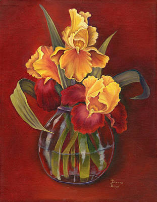 Irises Painting - Gold N Red Iris by Doreta Y Boyd