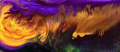 Contemporary Abstract Mixed Media - Gold Rush Abstract Art Horizontal Fluid Painting By Kredart by Serg Wiaderny