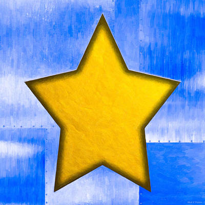 Gold Star From Out Of The Blue Print by Mark E Tisdale