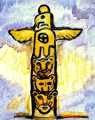 Gold Totem Pole Native American Eagle Cougar Bear Wolf Person Honoring Native American Culture 1 Original by Richard W Linford