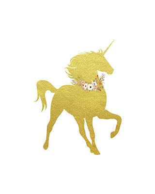 Unicorn Painting - Gold Unicorn by Tara Moss