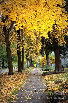 Golden Autumn Sidewalk Print by Carol Groenen