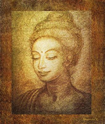Siddharta Mixed Media - Golden Buddha by Ananda Vdovic