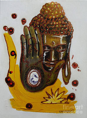 Indian Tribal Art Painting - Golden Buddha by Donna Chaasadah