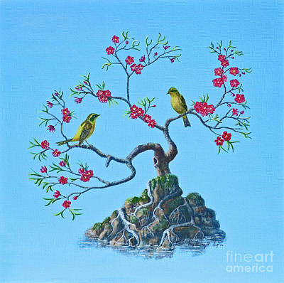 Golden Bush Robins In Old Plum Tree Print by Anthony Lyon