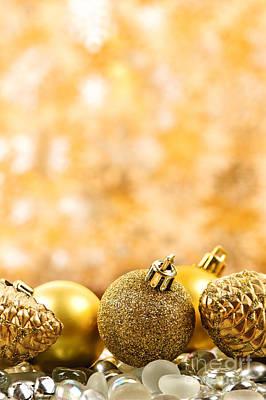Round Beads Photograph - Golden Christmas  by Elena Elisseeva