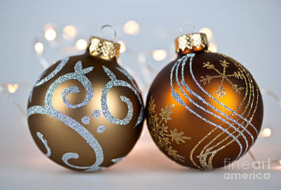 Golden Christmas Ornaments Print by Elena Elisseeva