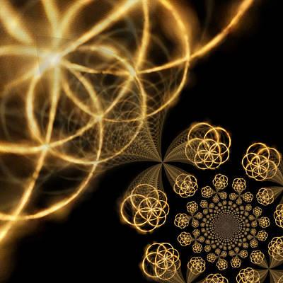 Vibrating Digital Art - Golden Circles by Tom Druin
