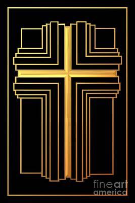 Golden Cross 2 Print by Rose Santuci-Sofranko