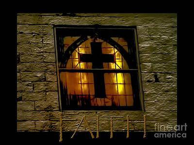 Cross Photograph - Golden Cross Window Church by Lesa Fine