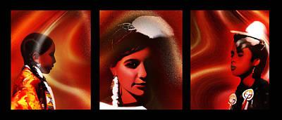 Powwow Photograph - Golden Dancers Triptych by Terril Heilman