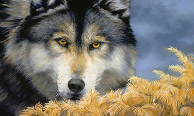 Gray Wolf Painting - Golden Eyes by Lucie Bilodeau