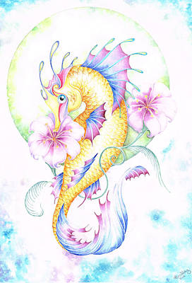 Golden Fairy Seahorse Print by Heather Bradley