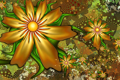 Golden Flowers Print by Peggi Wolfe