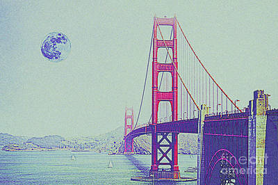 Golden Gate Mixed Media - Golden Gate And Full Moon by Celestial Images