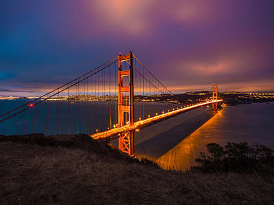Golden Gate At Twilight Print by Mike Lee