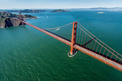 Golden Gate Bridge Aloft Print by Steve Gadomski