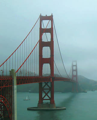 Golden Gate Bridge And Partial Arch In Color  Print by Connie Fox