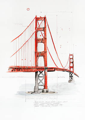 Golden Gate Bridge Print by Astrid Rieger