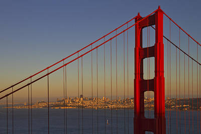 Towers Digital Art - Golden Gate Bridge At Sunset by Melanie Viola