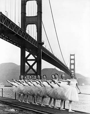 Ballet Photograph - Golden Gate Bridge Ballet by Underwood Archives