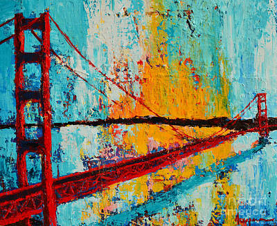 Famous Acrylic Landscape Painting - Golden Gate Bridge Modern Impressionistic Landscape Painting Palette Knife Work by Patricia Awapara