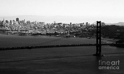 Golden Gate Bridge In Black And White Print by Linda Woods