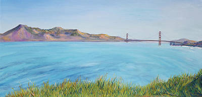 Early California Landscape Painting - Golden Gate Bridge In Early Morning by Asha Carolyn Young